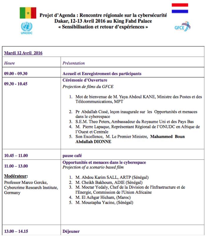 Conférence Cybersecurite Agenda 1